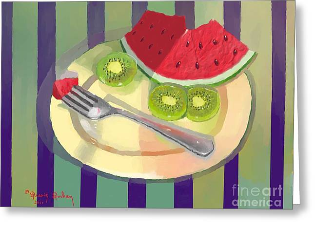 Watermelon Greeting Cards - One bite of watermelon Greeting Card by Dessie Durham
