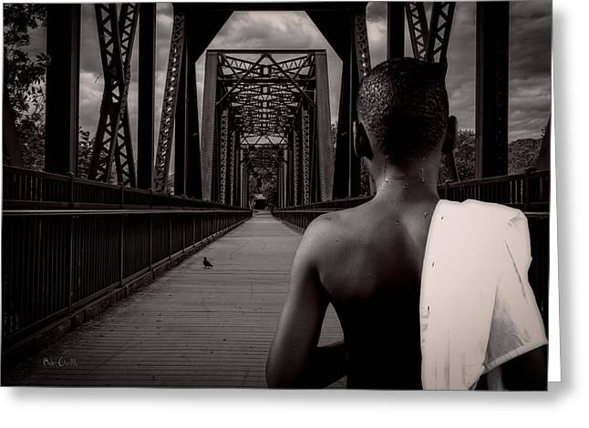 One Boy One Pigeon One Bridge Greeting Card by Bob Orsillo