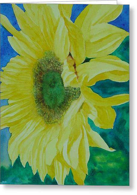 One Bright Sunflower Colorful Original Art Floral Flowers Artist K. Joann Russell Decor Art  Greeting Card by K Joann Russell