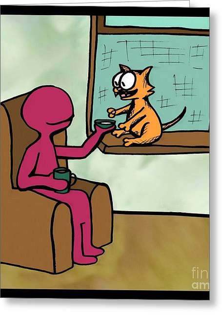 Comic Alien Greeting Cards - One Cat 11 Greeting Card by Pet Serrano