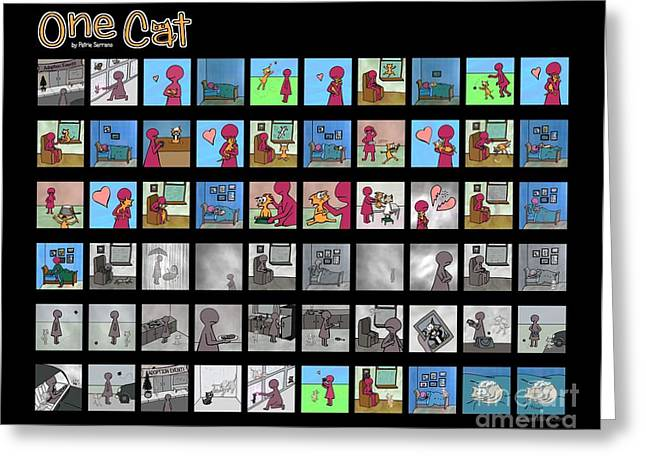 Cat Drawings Greeting Cards - One Cat Greeting Card by Pet Serrano