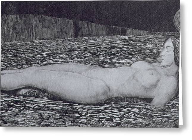 Nude Metal Greeting Cards - One Corpse Greeting Card by August Bromse