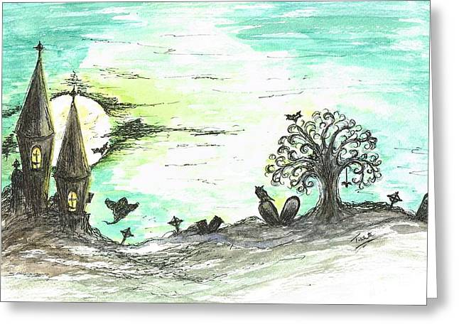 Hovering Mixed Media Greeting Cards - One Creepy Night Greeting Card by Teresa White