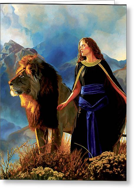 Courage Paintings Greeting Cards - One Day as a Lion Greeting Card by Patrick Whelan