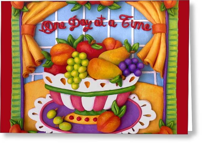 Apple Sculptures Greeting Cards - One Day At A Time Greeting Card by Amy Vangsgard