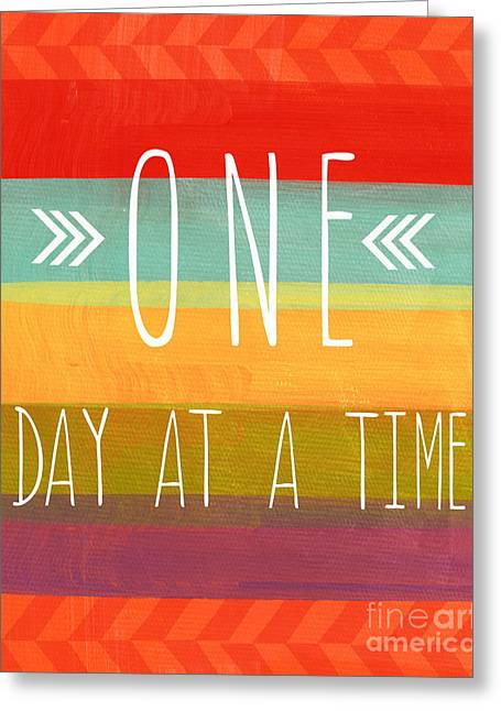 Striped Mixed Media Greeting Cards - One Day At A Time Greeting Card by Linda Woods