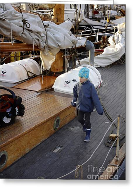 Wooden Ship Greeting Cards - One day I ll sail away Greeting Card by Ladi  Kirn