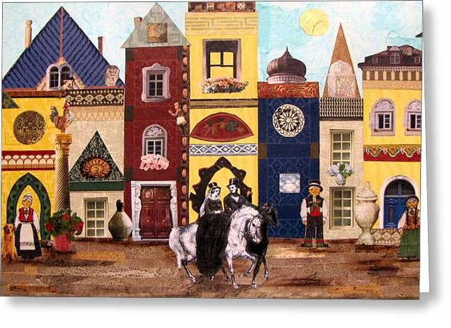 Town Mixed Media Greeting Cards - One Day in Town Greeting Card by Barbara Kinnick