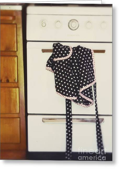Aprons Greeting Cards - One Day She Just Walked Out Greeting Card by Rebecca Cozart