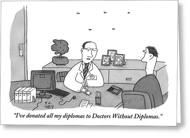 One Doctor At A Desk Speaks To A Colleague Greeting Card by Peter C. Vey
