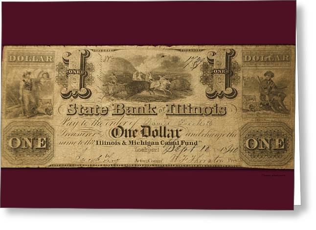 The Debt Greeting Cards - One Dollar Bill 1810 IL Mich Canal Fund Greeting Card by Thomas Woolworth