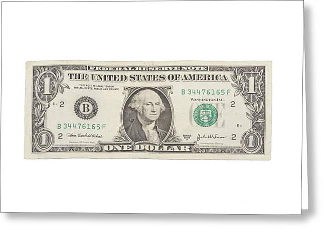 White Background Digital Art Greeting Cards - One Dollar Bill On White Background Greeting Card by Keith Webber Jr