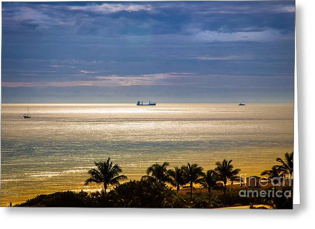 Beach At Night Greeting Cards - One Early Golden Morning Greeting Card by Rene Triay Photography