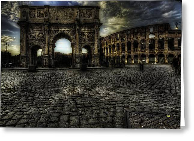 Gladiator Greeting Cards - One Evening in Rome Greeting Card by Erik Brede