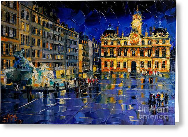 Emona Greeting Cards - One Evening In Terreaux Square Lyon Greeting Card by Mona Edulesco