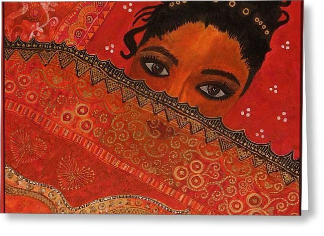 Female Faces Greeting Cards - One Eye To Feel, 2007 Mixed Media Greeting Card by Sabira Manek