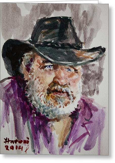 One Paintings Greeting Cards - One Eyed Cowboy  Greeting Card by Ylli Haruni
