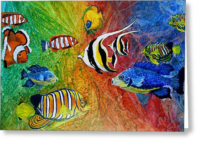 Representative Abstract Mixed Media Greeting Cards - One Fish Two Fish Greeting Card by Liz Borkhuis