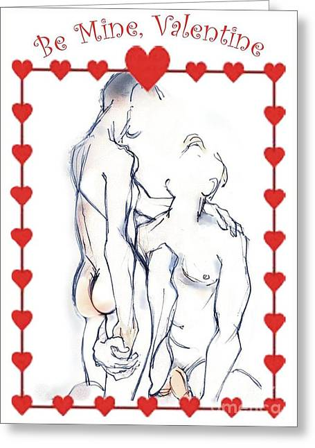 Homoerotic Mixed Media Greeting Cards - One for the Boys - Valentines Day Card Greeting Card by Carolyn Weltman