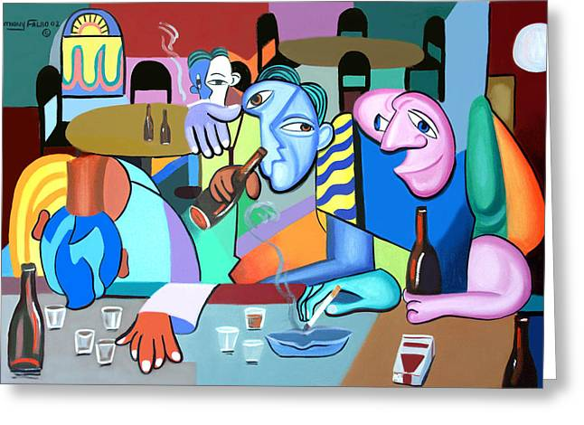 Cubist Greeting Cards - One For The Road Greeting Card by Anthony Falbo