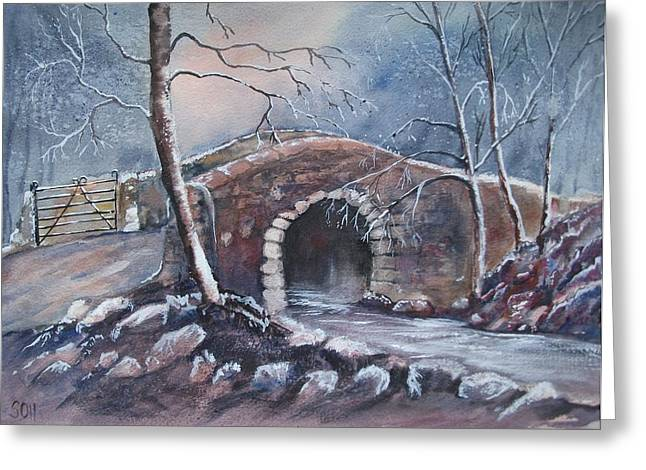 New England Village Greeting Cards - One Frosty Morning  Greeting Card by Super Cosmic