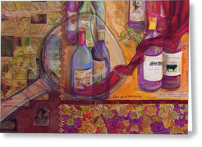 One Glass Too Many - Cabernet Greeting Card by Debi Starr