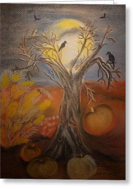 Eve Pastels Greeting Cards - One Hallowed Eve Greeting Card by Maria Urso
