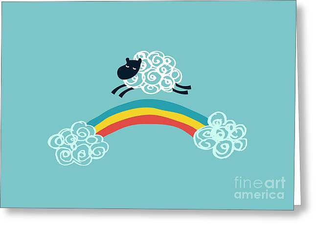 Funny Greeting Cards - One Happy Cloud Greeting Card by Budi Kwan