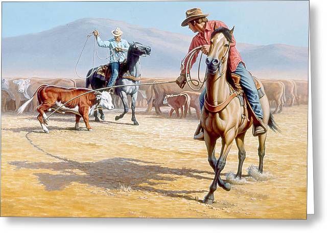 Cowboys Greeting Cards - One Heel Greeting Card by Paul Krapf