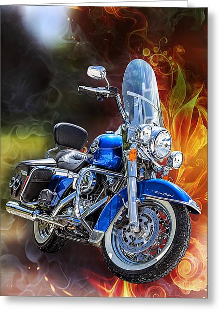 Blue Bike Greeting Cards - One Hell Of A Ride Greeting Card by Bill Tiepelman