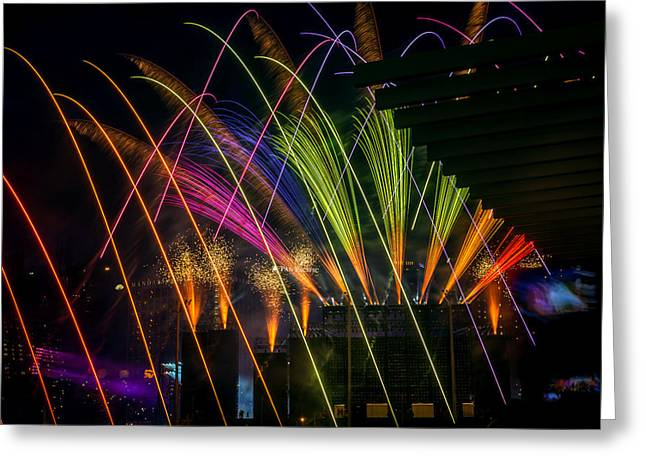 Pyrotechnics Greeting Cards - One Home One Singapore Greeting Card by Jijo George