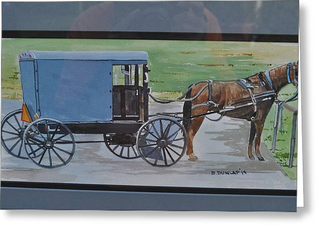 Horse And Buggy Greeting Cards - One Horse Power Greeting Card by Bart Dunlap