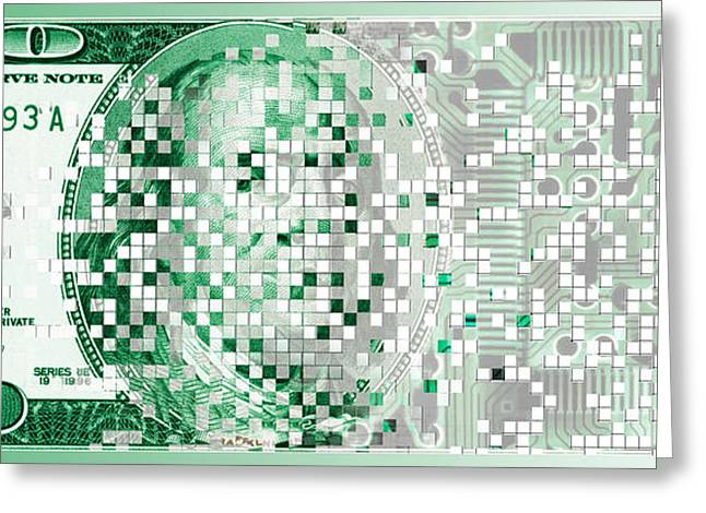 Cyberspace Greeting Cards - One Hundred Dollar Bill Turning Digital Greeting Card by Panoramic Images
