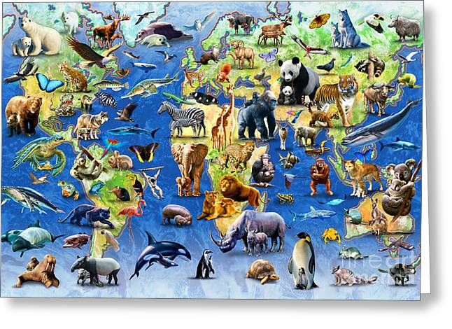 One Hundred Endangered Species Greeting Card by Adrian Chesterman