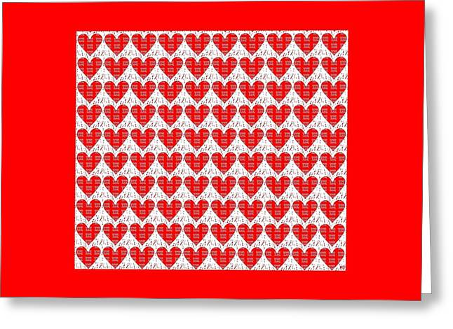 With Love Mixed Media Greeting Cards - One Hundred Hearts Greeting Card by Helena Tiainen