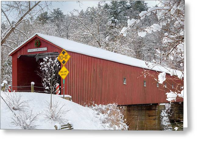 Snow-covered Landscape Greeting Cards - One Lane Bridge Square Greeting Card by Bill  Wakeley