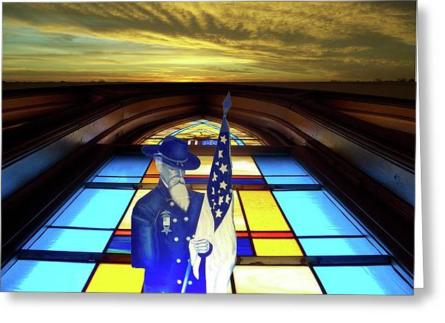 Colorful Photos Glass Art Greeting Cards - One Last Battle Union Soldier Stained Glass Window Digital Art Greeting Card by Thomas Woolworth
