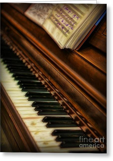 Pianist Photographs Greeting Cards - One Last Song  -  Piano Player - Pianist Greeting Card by Lee Dos Santos