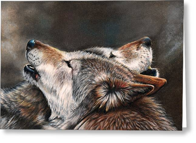 Wolf Pastels Greeting Cards - One Last Song Greeting Card by Peter Williams