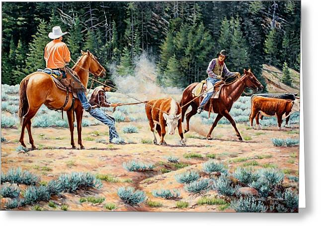Cowboys Roping A Steer Greeting Cards - One Leg Catch Greeting Card by Susan Branston