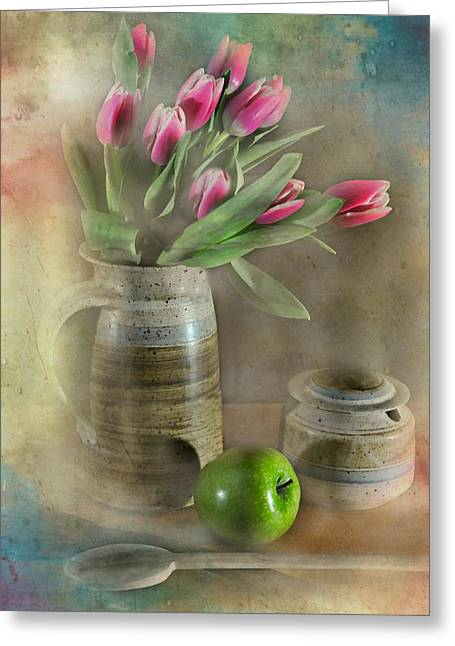Bowl Of Flowers Greeting Cards - One Less Greeting Card by Diana Angstadt