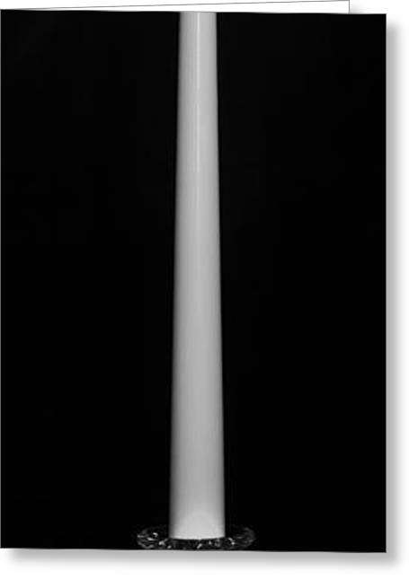 Candle Stand Greeting Cards - One Light - BW Greeting Card by Nicholas Evans