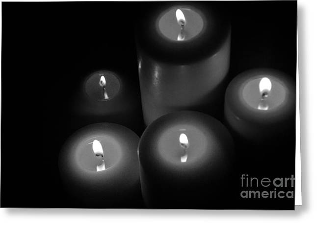 Candle Lit Greeting Cards - One Light At A Time Greeting Card by Tina M Wenger
