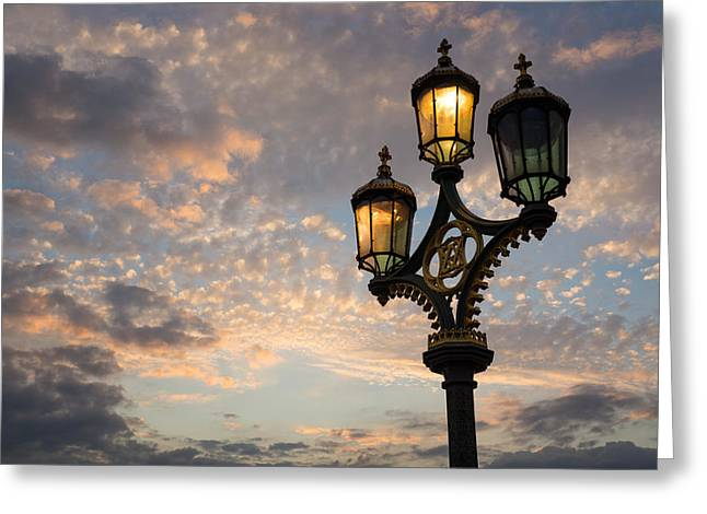 Streetlight Greeting Cards - One Light Out - Westminster Bridge Streetlights - River Thames in London UK Greeting Card by Georgia Mizuleva