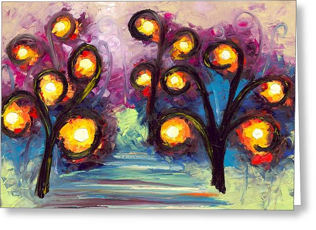 Jessilyn Park Greeting Cards - One Light Two Light Red Light Blue Light Greeting Card by Jessilyn Park