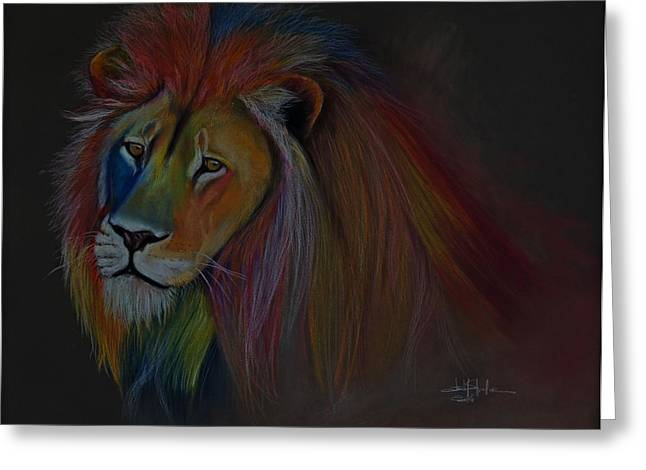 Lioness Drawings Greeting Cards - One Lion Greeting Card by Isabel Salvador