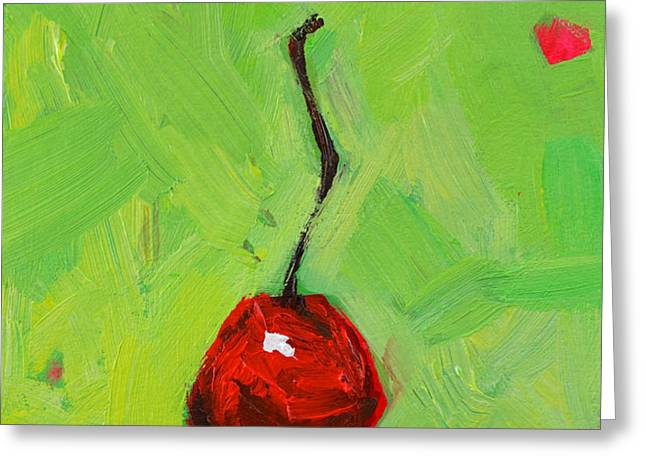 One Little Cherry Greeting Card by Patricia Awapara