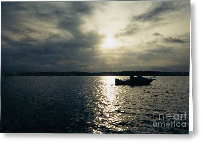 Boats On Water Greeting Cards - One Lonely Fisherman Greeting Card by John Telfer