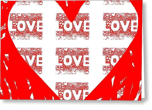 With Love Mixed Media Greeting Cards - One Love Greeting Card by Helena Tiainen
