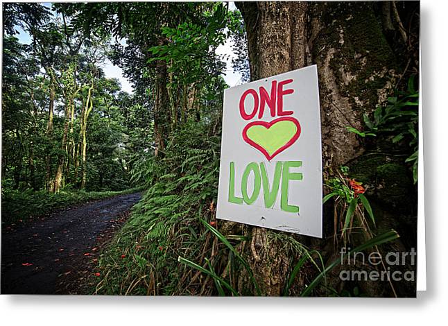 Rasta Greeting Cards - One Love Maui Hawaii Greeting Card by Edward Fielding